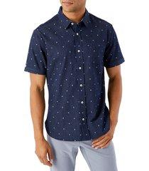 men's 7 diamonds miles ahead floral short sleeve button-up shirt, size small - blue