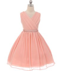 blush cross-body style yoru chiffon girl dress matching color's stones on belt