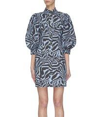 animal print ball sleeve cotton poplin dress