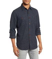 men's faherty seasons organic cotton flannel sport shirt, size xx-large - black