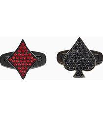 gemelli unisex tarot magic, rosso, placcatura in pvd nero