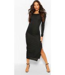 tall geribbelde midaxi jurk met diepe ronde hals en laag uitgesneden rug, zwart