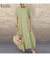 zanzea las mujeres de manga corta a cuadros de cuerpo entero compruebe kaftan vestido de tirantes del vestido largo caliente -verde