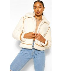 faux fur aviator teddy jas met nepleren strip, crème