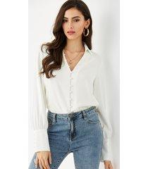 yoins blanco classic blusa con botones delanteros y cuello
