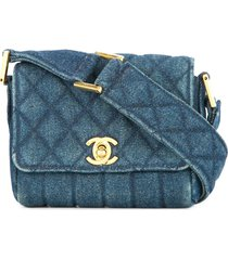 chanel pre-owned 1989-1991 cc logo mini denim shoulder bag - blue