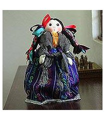 cotton decorative doll, 'sweet braids' (mexico)