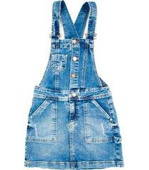 jardinera falda con botonera azul cacao