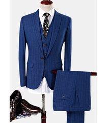 stripes printing slim business tree pezzi casual blazer da uomo