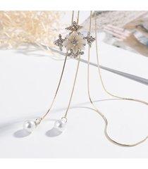 collane alla moda nappa pendente ciondolo per le donne di lusso opale strass fiore croce lunghe collane