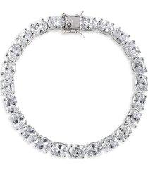 cz by kenneth jay lane women's rhodium plated & cubic zirconia classic tennis bracelet