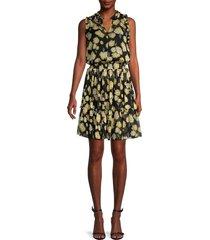 tommy hilfiger women's floral tiered blouson dress - daffodil flower - size 2