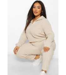 plus zip polo sweater and jogger lounge set, stone