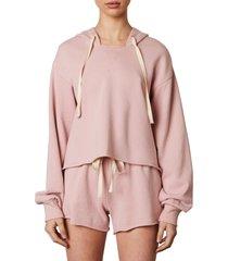 women's nia raw hem crop hoodie, size x-small - pink