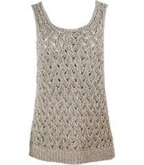fabiana filippi sleeveless round neck sweater in linen, cotton and lurex