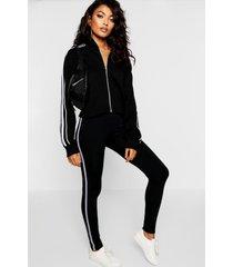 side stripe fleece lined leggings, black