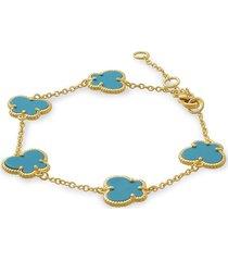 jan-kou women's butterfly 14k goldplated & turquoise bracelet