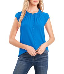 cece flutter sleeve stretch crepe top, size x-small in santorini sky at nordstrom