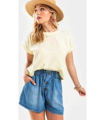 sonia button front chambray shorts - chambray