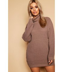 plus roll neck sweater dress, taupe
