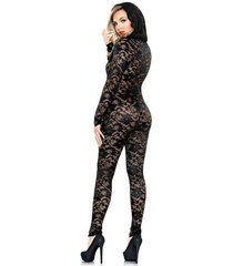 sexy jumpsuit footless bodystocking  pullover mia lace hood black s/m-m/l