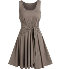solid color tie waist sleeveless a line dress