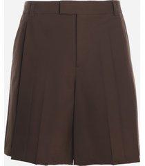 valentino garavani wool blend bermuda shorts with pleats