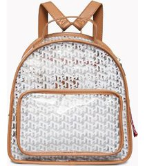 tommy hilfiger women's monogram transparent backpack transparent/cognac -