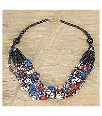 glass beaded necklace, 'colorful ghanaian thank you' (ghana)