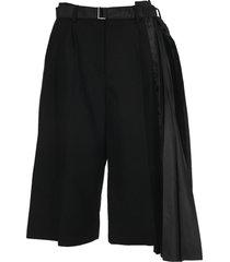 sacai pleated panel shorts