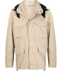 aspesi concealed hood military jacket - neutrals