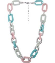 colar curto resinado armazem rr bijoux corrente colorida prata - feminino