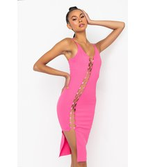 akira show it all lace up midi dress