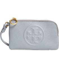 women's tory burch perry bombe leather card case - blue