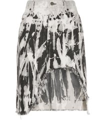 diesel frayed ripped denim skirt - grey