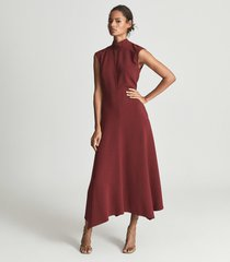 reiss livvy - open back midi dress in dark red, womens, size 14