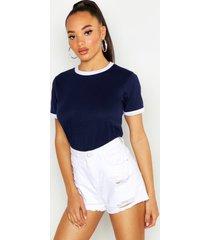 basic ringer t-shirt, marineblauw