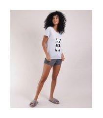 pijama feminino blusa panda manga curta e decote redondo cinza mescla