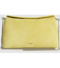 reiss evie - suede slouch clutch in bright yellow, womens