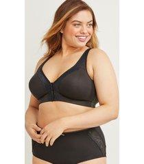 lane bryant women's cotton front-close unlined no-wire bra 48d black