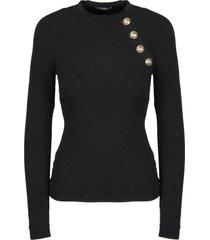balmain button detailed diamond knit sweater