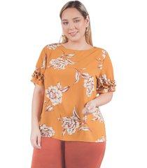 blusa adrissa plus estampado floral detalle recogidos mostaza