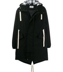 acne studios contrast drawstrings padded parka coat - black