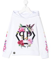 philipp plein crystal flowers hoodie - white