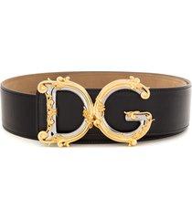 dolce & gabbana baroque dg logo belt - black
