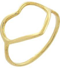 anel narcizza semijoias coração vazado ouro