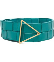 bottega veneta triangle-plaque woven belt - blue