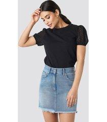 trendyol tulle detailed knitted blouse - black