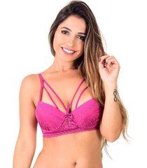 soutien strappy vip lingerie base em renda rosa