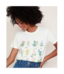 t-shirt feminina mindset botânica manga curta decote redondo off white